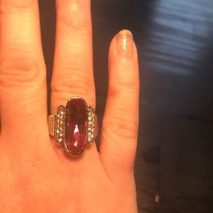Jewelry - Deep vibrant pink and silvertone ring